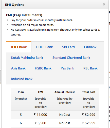 Amazon India Credit card No Cost EMI